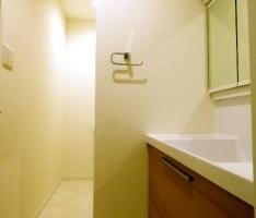 躯体柱で分けた扉の無いトイレと洗面ブース