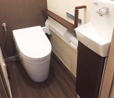2ヵ所のトイレ壁素材を変えて