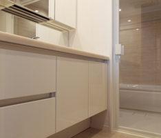 廊下から洗面所とバスルームを見る